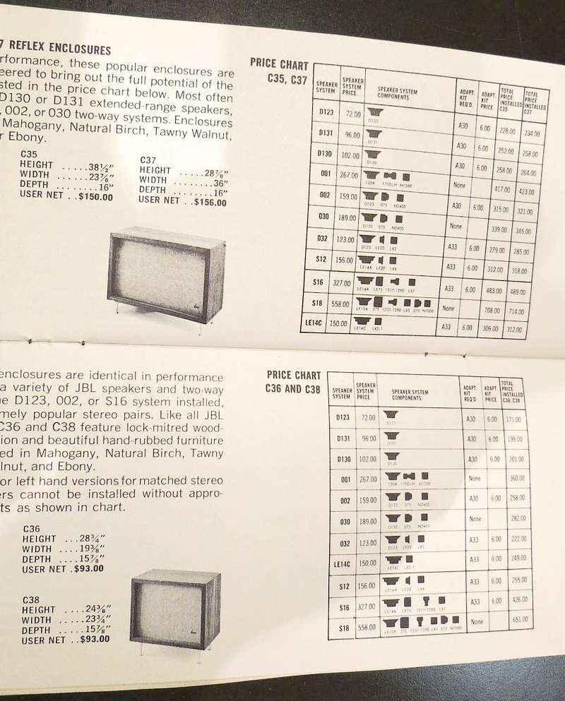 買取・販売 JBLC38,C36 システムチャート(1964年)